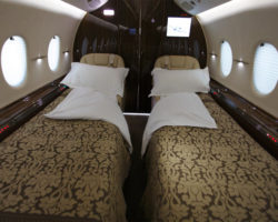 Beds set up inside 2009 RAYTHEON HAWKER 4000 - N699AK